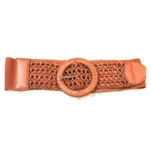 Brown elastic stretch cage belt rattan style